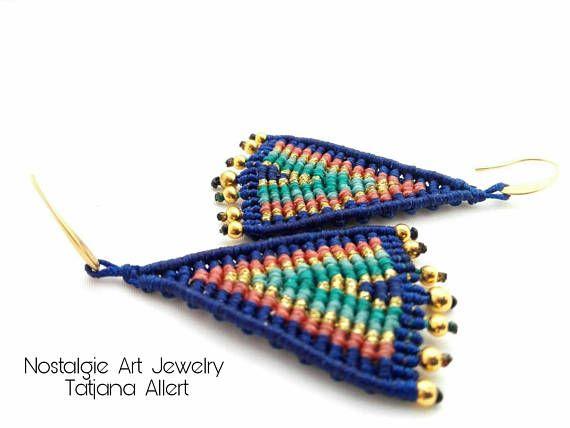 Macrame  earrings  tribal earrings  boho  earrings  hippie