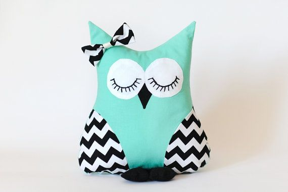 Handmade 'I'll Owl-Ways Be Your Friend' Owl Pillow in Mint and White/Black Chevron - MADE TO ORDER