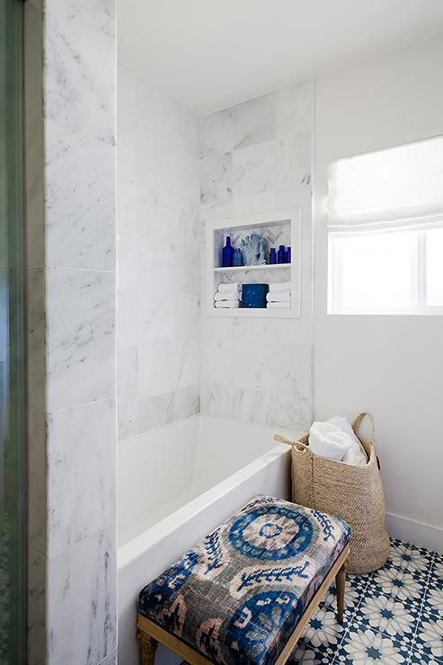 Gorgeous Bathroom Features A Drop In Tub Lined With A
