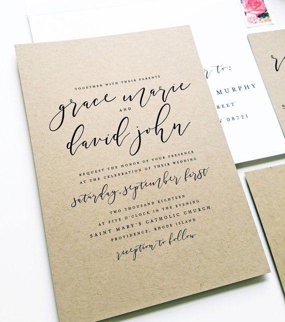 New Grace Modern Calligraphy Script Recycled Kraft Wedding Etsy Kraft Wedding Invitations Wedding Invitation Samples Etsy Wedding Invitations