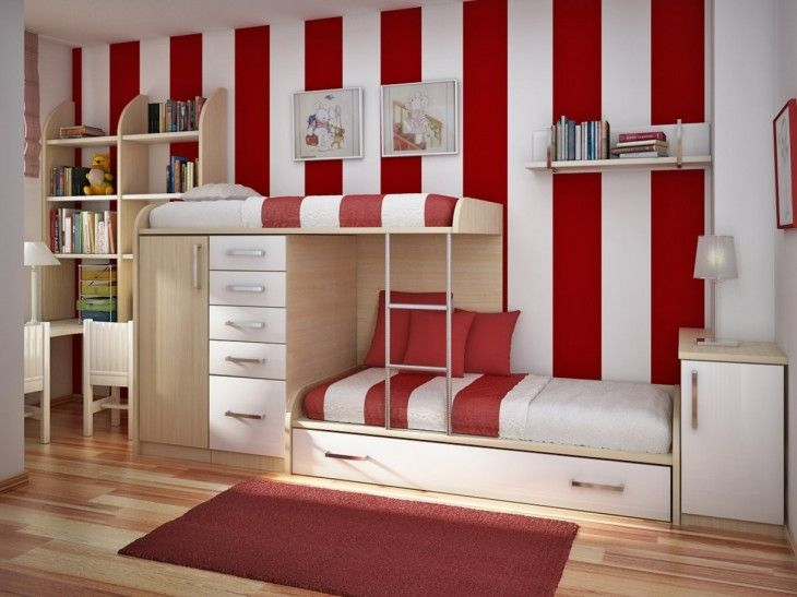Bedroom Interior Cute Red And White Strip Wallpaper Also Modern Custom Bunk Beds Stairs And Sweet White Drawers - pictures, photos, images
