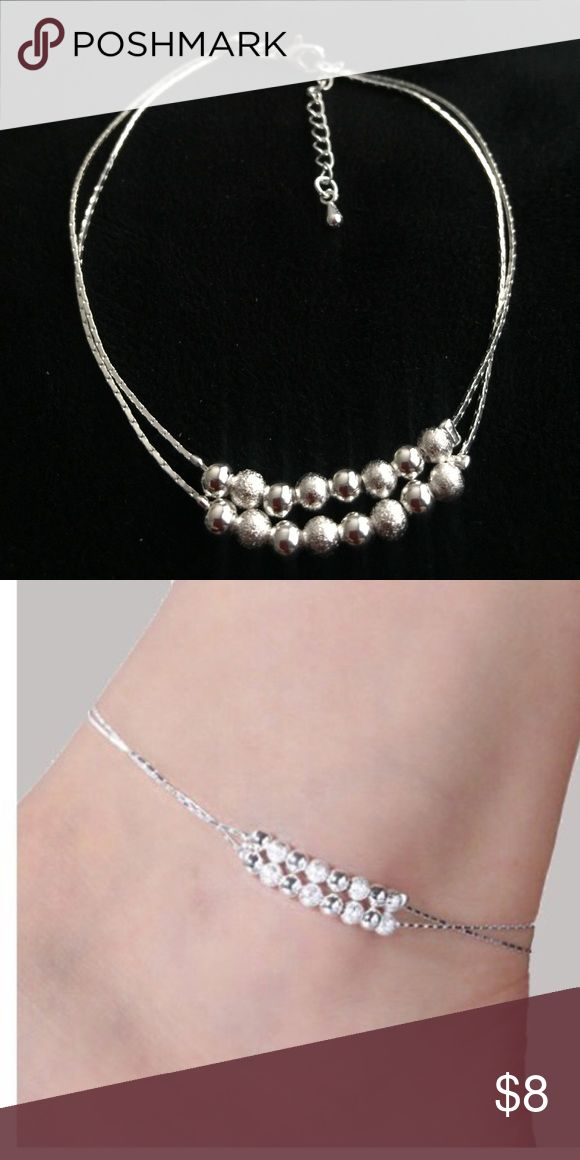 Anklet - 925 Sterling Silver Beaded Double Strand Charming anklet with adjustable size up to 10 inches. This anklet uses an electroplating process for superior color retention and bright Sterling Silver 925. Check out the other anklets for 🎈bundle🎈 discount‼️ Jewelry Bracelets