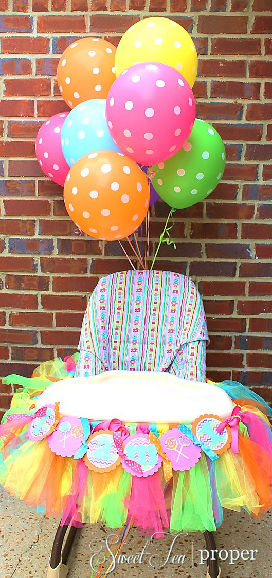 Candy themed birthday party ideas 1st birthday high for Balloon decoration for 1st birthday party