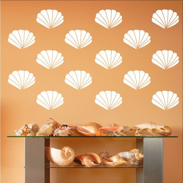 Scallop Sea Shells Vinyl Wall Decals - Set of 4 Inch Scallop Shell Decals 22577 #scallop #shells #walldecals #beach