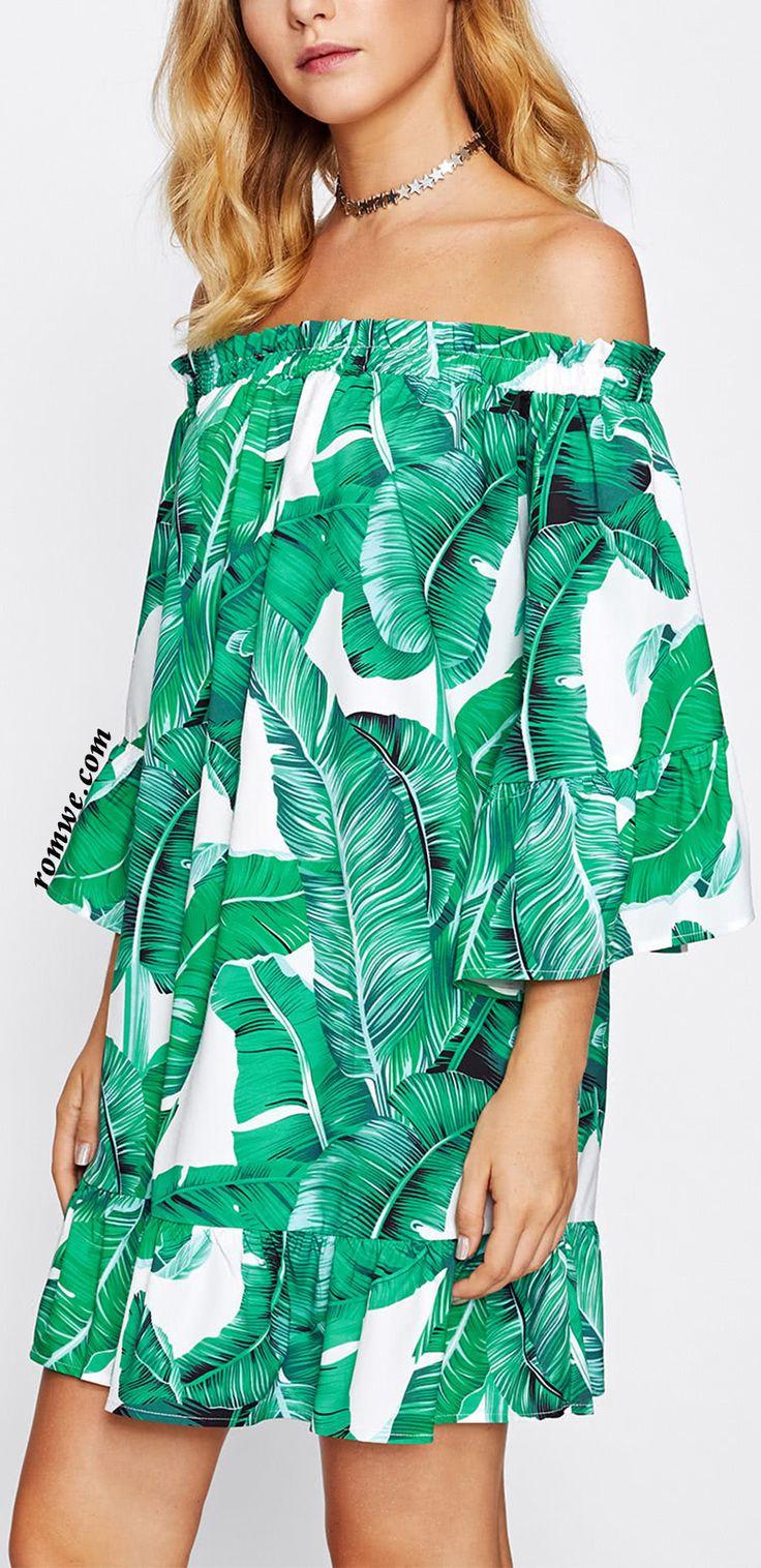 Bardot Frill Trim Jungle Print Dress