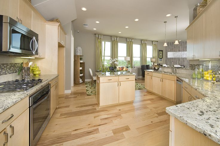 Gehan homes kitchen light wood cabinets light granite for Kitchen cabinets austin