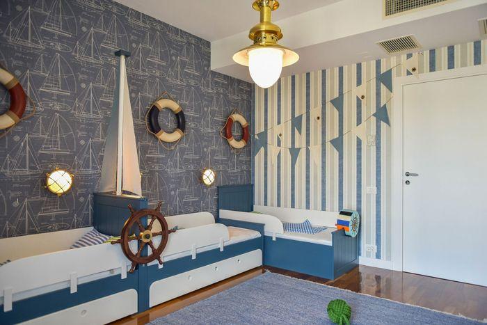 kids room, marine, blue