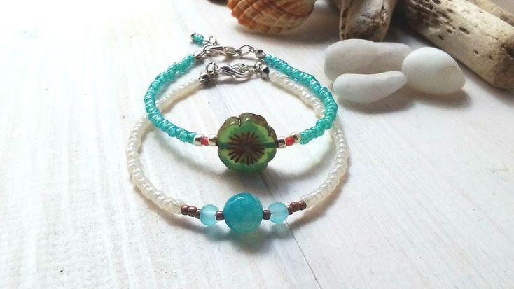 Flower bracelet/Feminine jewelry/Friendship gift/Turquoise jewelry/Girl gift/Delicate woman jewelry/Spring bracelet/Whimsical woman present summerbeachisland.etsy.com € 11