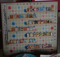 We have all seen jewelry featuring recycled Scrabble tiles but this way to use the tile holders and the Scrabble board to display them is positively wonderful. I bet this would work to display all ...