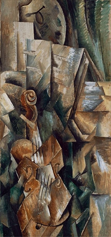 Violin and Palette by Georges Braque, 1909-1910, oil on canvas [Cubism:  Analytical Cubism 1909-1910]