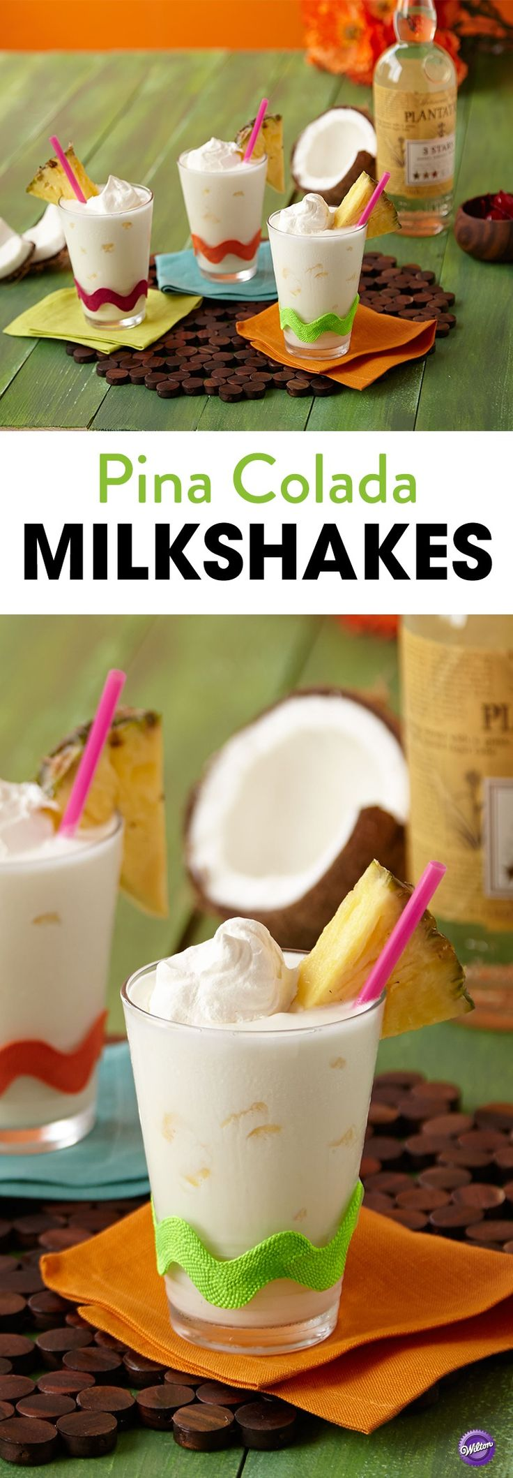 Pina Colada Milkshakes Recipe - Time to rethink this favorite summer drink! This easy to make Pina Colada Milkshake will shake up your summer parties!