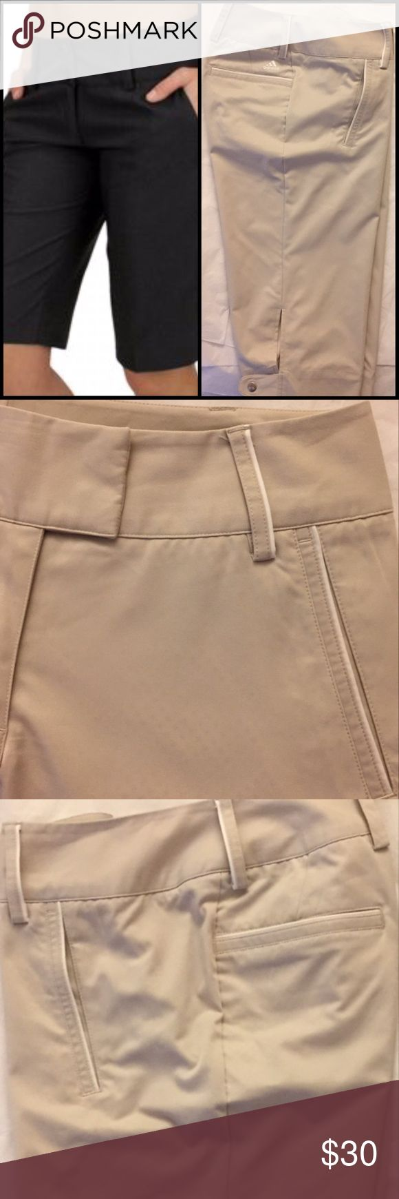 """Adidas Climalite Tan Golf Pants-Reduced Size 4, goes all pushers. In excellent condition. Waist 32, inseam 17"""". Golf knickers! Adidas Pants Capris #GolfKnickers"""