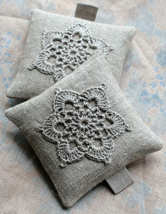 Lavender sachets  crochet motif  set of 2 by namolio on Etsy