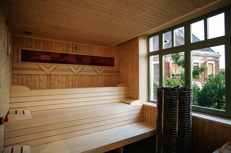 Grand Hotel Glorius Makó - sauna with view over the Hagymatikum Thermal Bath http://glorius.hu