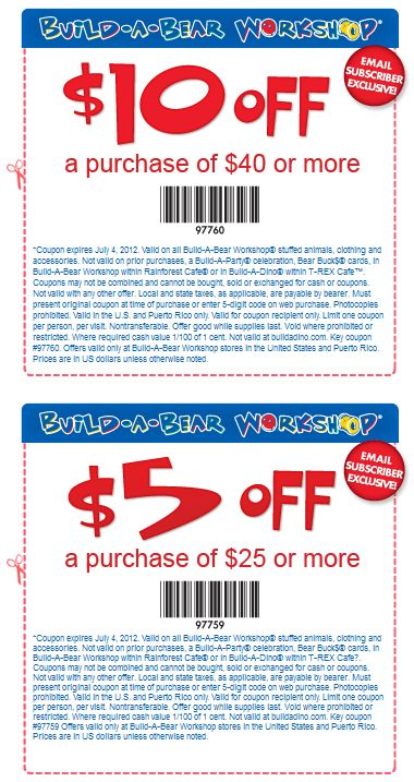 $10 off $40 and more at Build-A-Bear workshops