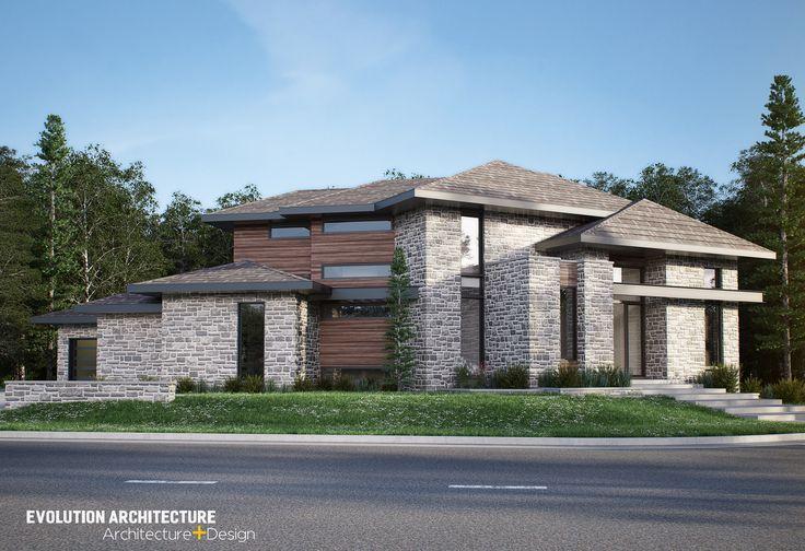 #Architecture#maison #contemporaine #création exclusive E-970 #moderne #design#concept #plan maison#bois#pierre