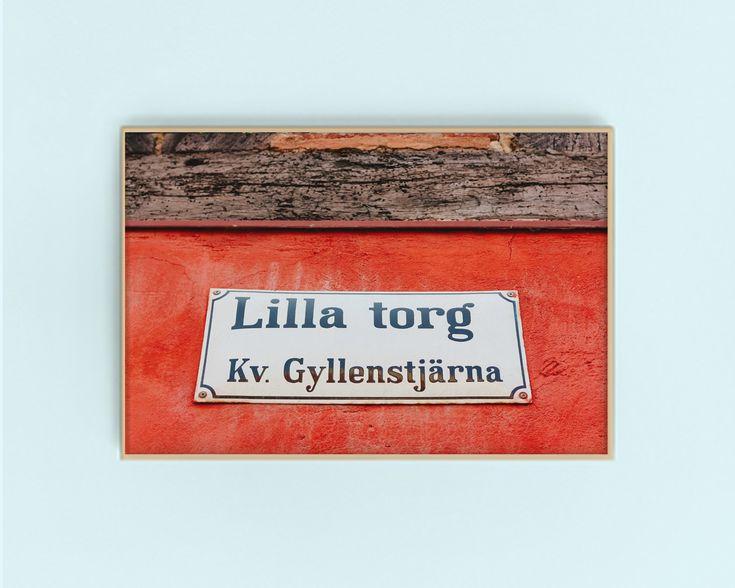 Lilla Torg Malmo City Sign Digital Art Print | Red Travel Art | Malmo Sweden | Malmo City Downloadable + Printable Gallery Wall Artwork