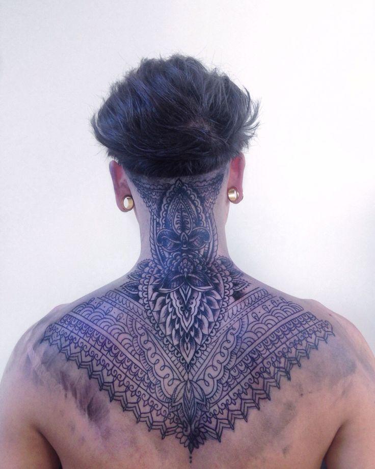 Men Undercut Haircut Tattoos Neck Tattoo Back Of Neck