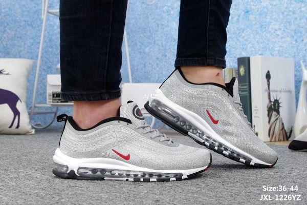 53b2cfb09a2 Nike Air Max 97 LX Swarovski Silver Red Black Unisex shoes  WhatsApp 8613328373859