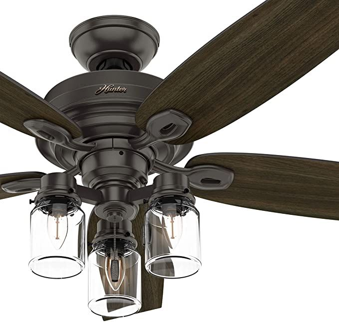 Hunter Fan 52 Inch Casual Noble Bronze Indoor Ceiling Fan With Light Kit And Pull Chain Renewed Amazo Bronze Ceiling Fan Ceiling Fan Ceiling Fan Makeover Hunter ceiling fan light fixture