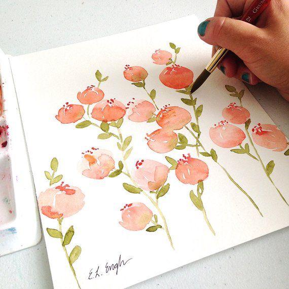 Original Peinture Florale A L Aquarelle De Peche Peintures