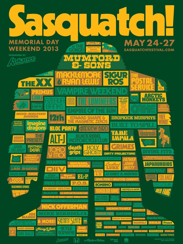 Wish i could go...Sasquatch! Festival 2013 - Poster and other materials by Draplin
