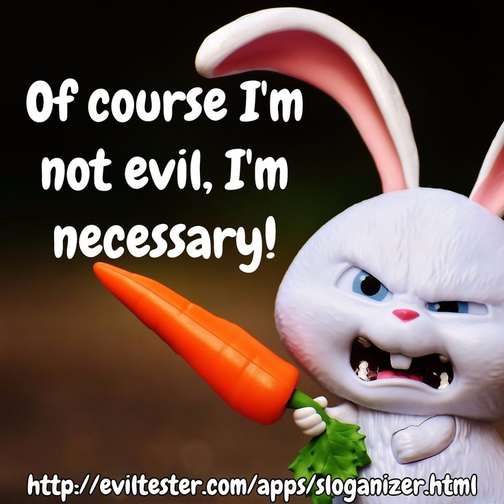 Of course I'm not evil, I'm necessary! / http://eviltester.com/apps/sloganizer.html
