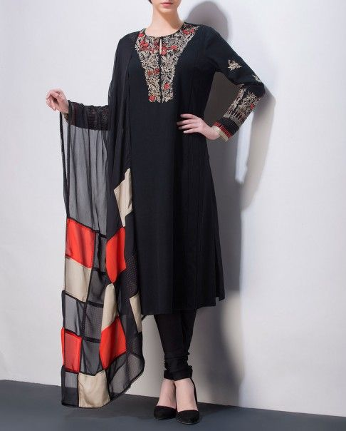 Jet Black Suit with Embroidered Yoke