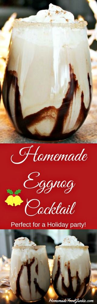 This decadent Homemade Eggnog Cocktail is the perfect drink to serve at your holiday party this year! It has delicious hints of chocolate, caramel, and coffee mixed with the yummy taste of old fashioned eggnog.