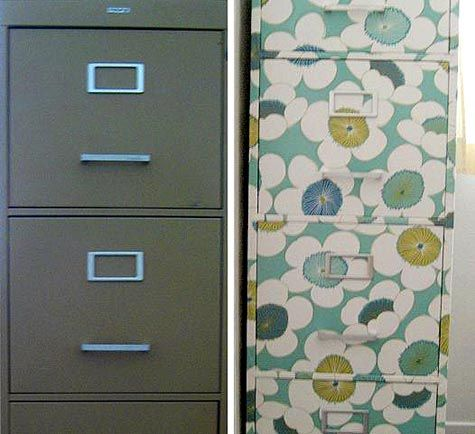Just received an old file cabinet from work.  This is what I plan on doing with it.  Instructions here: http://www.apartmenttherapy.com/how-to-wallpaper-a-filing-cabi-63250