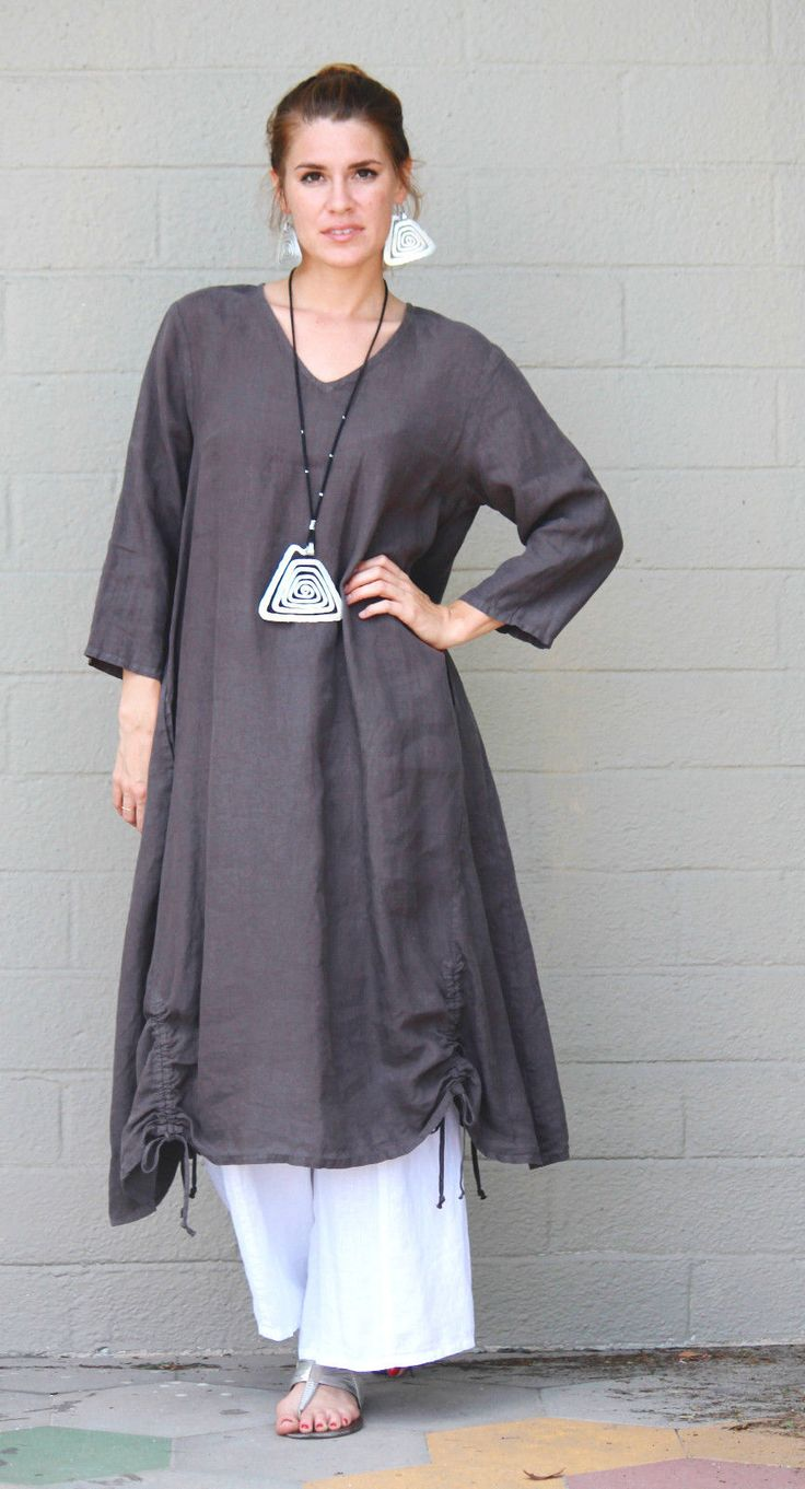 I love this dress, but I'd wear it over leggings instead of those wide leg pants.Long Drawstring Detail Dress
