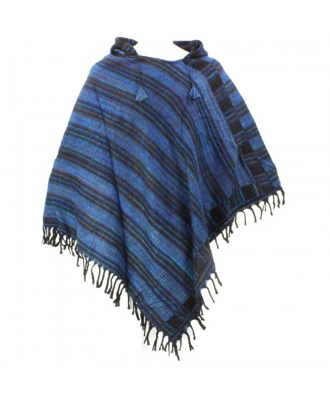 Hill Queen Acrylic hooded Poncho with tassel hem - Blues