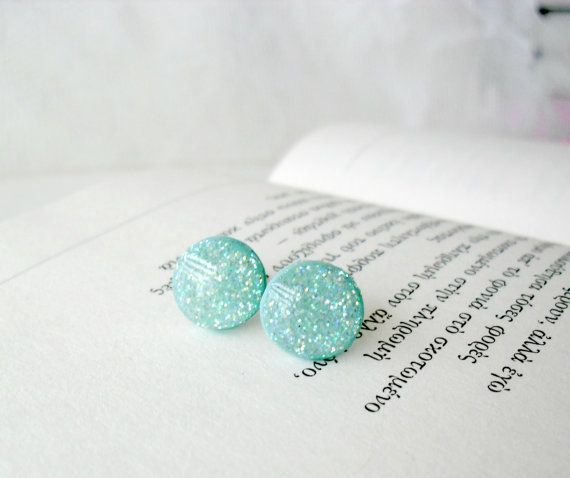 Glitter Mint green post earrings Everyday by DivineDecadance