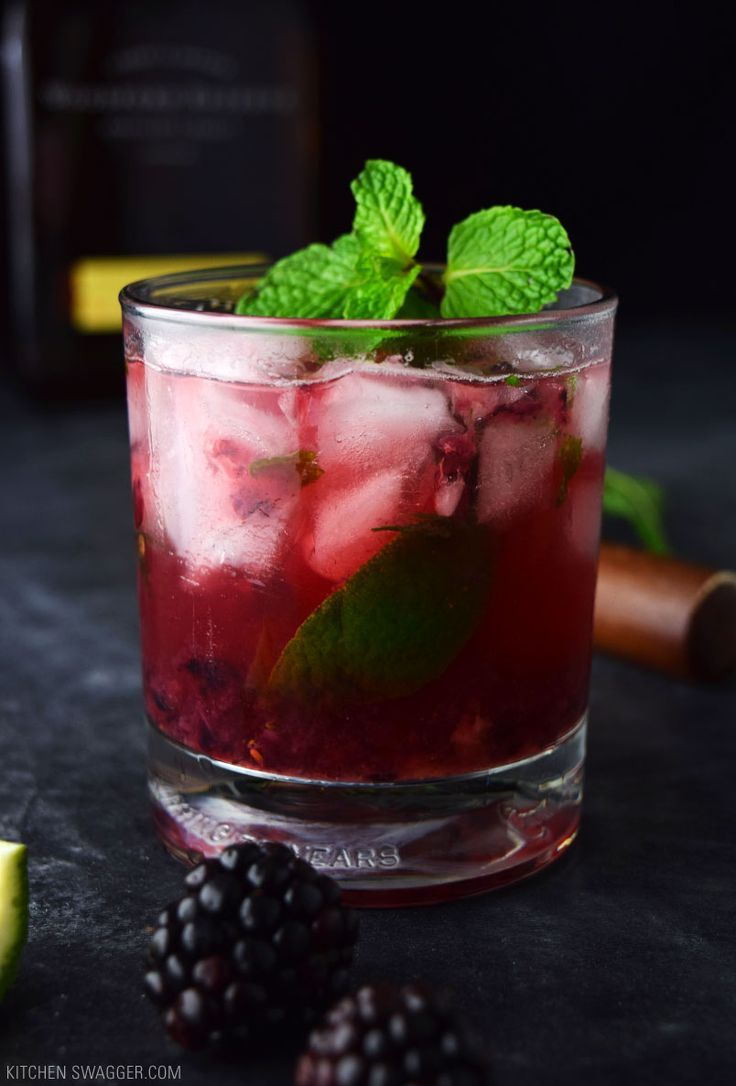 A delicious bourbon smash made with fresh muddled blackberries, mint, and limes.
