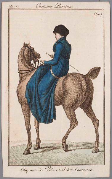 Blue habit, an 13 costume parisien (same print appears in Belle assemblee)