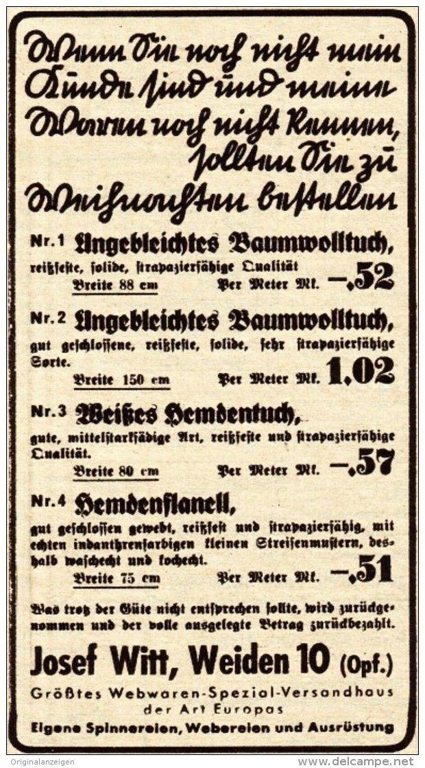 Original-Werbung / Anzeige 1937 - BAUMWOLLTUCH / WITT - WEIDEN - ca. 60 x 115 mm
