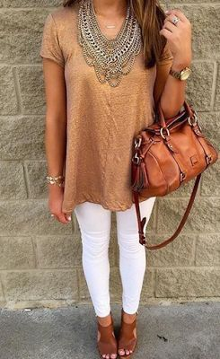 Get the Boho Chic look by pairing your white jeans with a flowy stain top, layered with a statement necklace!