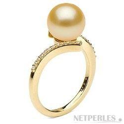 Anello Oro e diamanti, perla Australiana dorata da 9-10 mm AAA