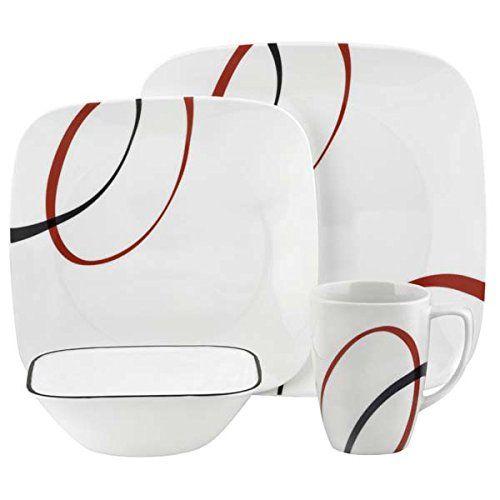 Corelle Geschirr-Set Fine Lines aus Vitrelle-Glas für 4 Personen 16-teilig, splitter- und bruchfest, rot/schwarz
