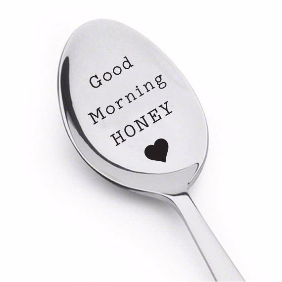 good morning handsome,good morning gorgeous,good morning beautiful,coffee lover,coffee spoon,coffee stirrers,coffee gift,coffee lovers gift  The engraved spoon says Good Morning Handsome. You can buy a set by adding another spoon with the message - Good morning Honey.  When you buy a set, you get 50% discount for the second spoon. Some of my best selling and most loved designs  Anniversary or wedding gifts  https://www.etsy.com/shop/SarasHandmadeItems?ref=hdr_shop_men...