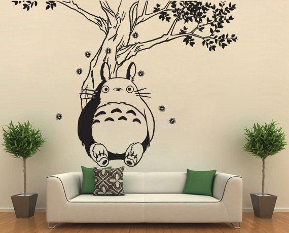 Totoro sous l'arbre vinyle Wall Art Decal WD0594 par Tapong sur Etsy, $35.99