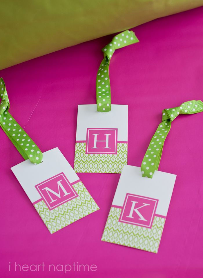 Monogram free printable luggage tags