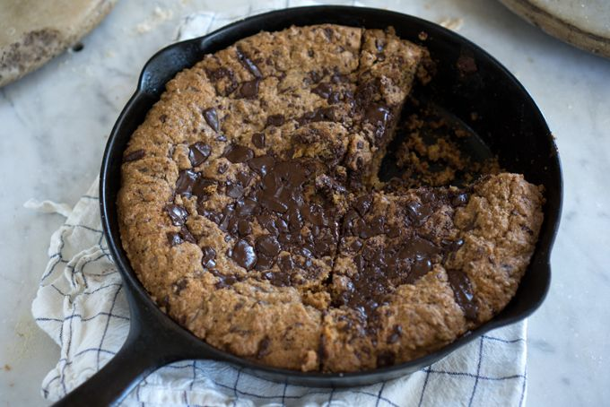 Whole Wheat Chocolate Chip Skillet Cookies - Made using 100% whole wheat flour and hand-chopped chocolate chips, this is a skillet-baked twist on chocolate chip cookies. Spread the dough in an oven-safe skillet, and bake into a single mega-cookie. - from 101Cookbooks.com