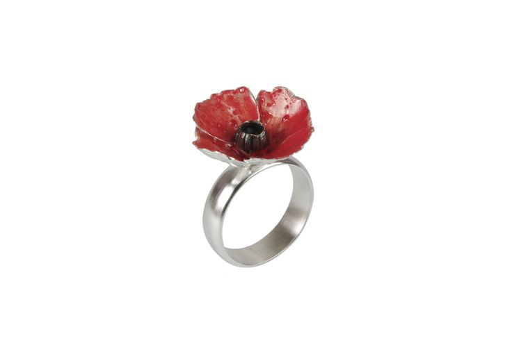 Red Silver Poppy Ring  http://susanateixeira.pt/product/red-silver-poppy-ring/