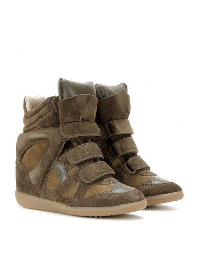 'Khaki leather and suede concealed wedge sneakers By Isabel Marant'