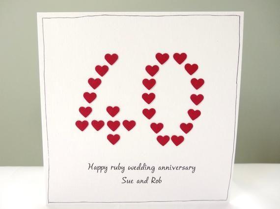 Ruby Wedding Anniversary Card Personalised 40th Anniversary Greeting Card Husband Wife Mum Dad Mom Free Personalisation Handmade Uk Wedding Cards Handmade Wedding Anniversary Cards Anniversary Greeting Cards