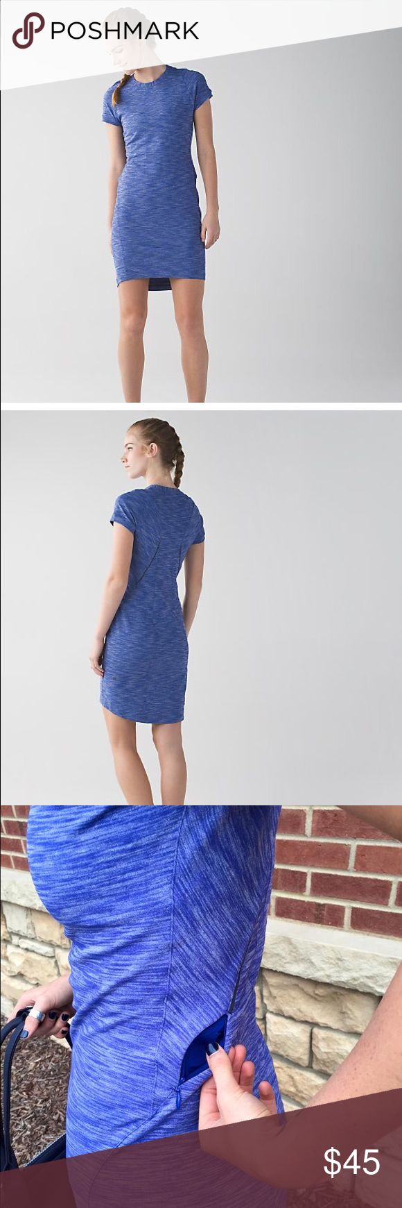 Lululemon &go where to dress Sz 8 sapphire blue Super cute and comfy sold out Lululemon dress! Adore the dress just too big for me now.                                                                            When you've got five minutes to get ready for a surprise weekend away, this slim-fitting dress will be the first thing you toss in your bag. It can take you from a day of exploring through to date night with four-way stretch fabric and pockets to stash all your must-haves. lululemon…