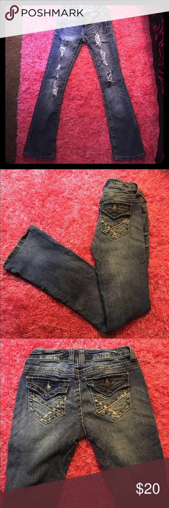 "Distressed Wallflower boot cut jeans 👖 size 3 These Wallflower jeans are a size 3 in juniors and are boot cut. They are very stretchy. I wear 0's and 1's. I purchase these when I was pregnant with my second child and now they're a little too loose for me 😔 The inseams measures at about 30"" and the waist across is 13"" Wallflower Jeans Boot Cut"