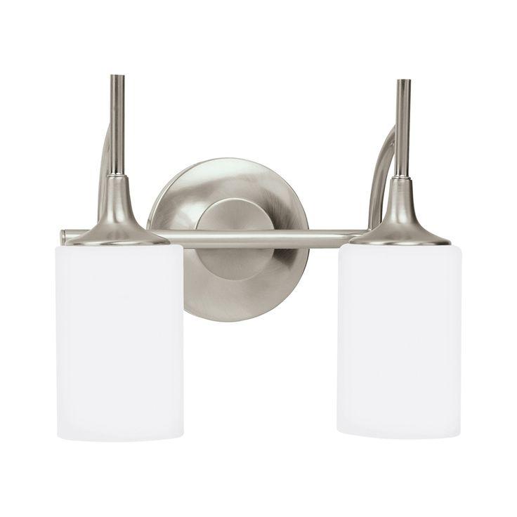 Sea Gull Lighting Stirling 2-Light 11.25-in Brushed Nickel Cylinder LED Vanity Light