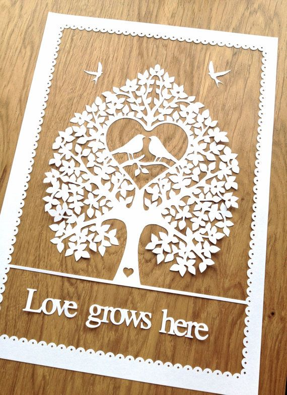 DIY Papercut Love Birds Tree Design - with PERMISSION TO SELL FINISHED CUTS Whether papercutting is your hobby or your business this